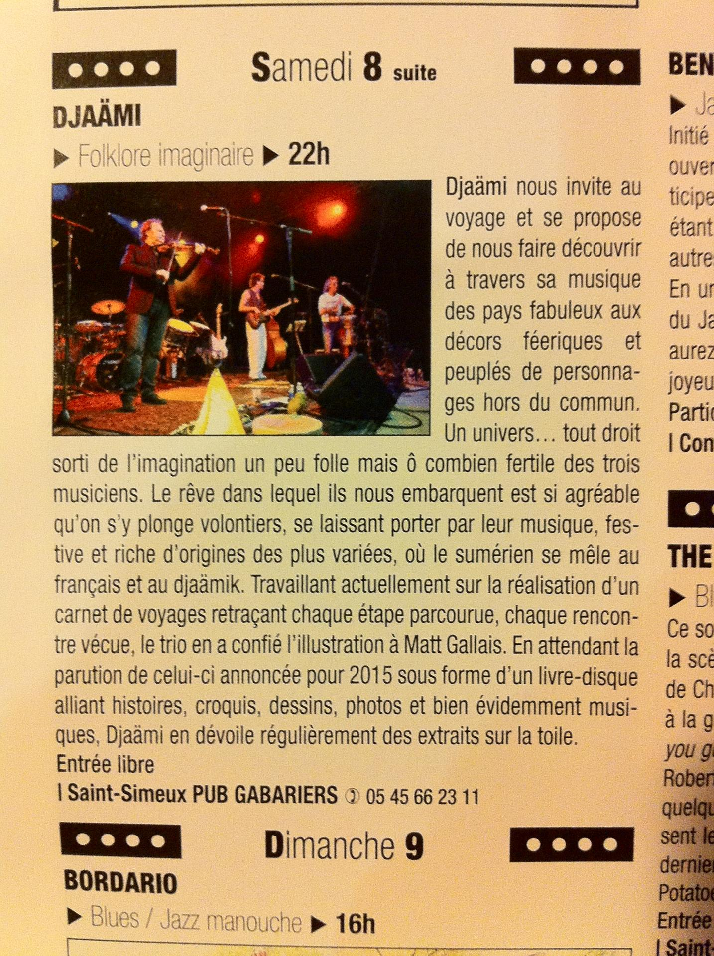annonce concert gabariers 08/11/2014